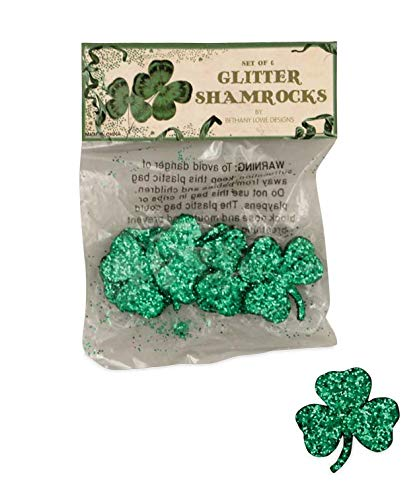 Bethany Lowe Glitter Shamrocks Set of 6