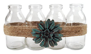 Blossom Bucket Four Glass Bottles W/Blue Flower Home décor
