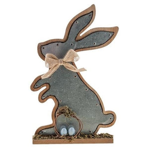 "CWI Metal Bunny Sitting Plaque 13.5"" x 8"""