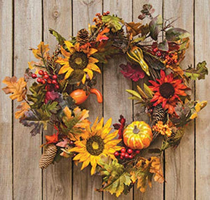 "CWI Gifts 22"" Harvest Sunflower Wreath"