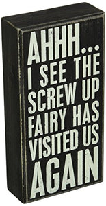 Primitives by Kathy Classic Box Sign, 4 x 8-Inches, Screw Up Fairy