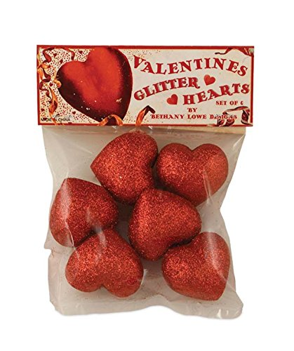 Bethany Lowe Valentine Glitter Hearts, Set of 6 LC6345