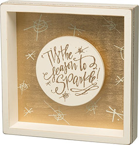 "Primitives by Kathy Shadow Box Sign - Season to Sparkle 8.50"" x 8.50"""