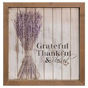 "CWI Gifts Grateful Thankful & Blessed Framed Shiplap Sign, 10"" x 10"", Multicolor"