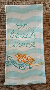 "Living on Beach Time Embroidered Kitchen Dish Towel - 18"" x 26"", 100% Cotton"