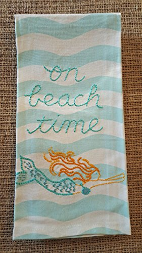 Living on Beach Time Embroidered Kitchen Dish Towel - 18