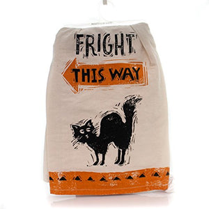 Primitive by Kathy Halloween Black Cat Dish Towels Set of 2 - Fright This Way - Black Cat Eyes Print