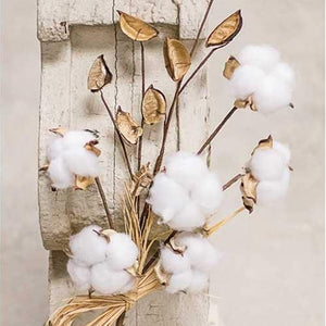 "Cotton Pod Stem is a 16"" rustic floral that is perfect for any decor. Stem features soft buds of natural cotton and dried pods on a brown floral stem that is accented with a raffia bow."