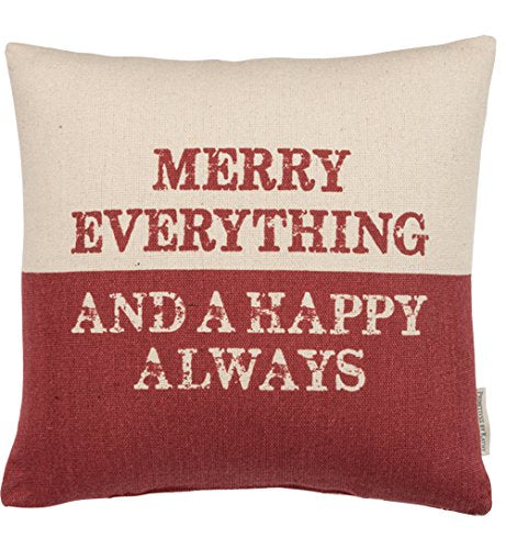 Primitives by Kathy Holiday Merry Everything Throw Pillow, 14-Inch Square