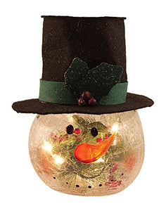 WT Collection Small Glass Snowman Head with Lights (Plug-in), 28, White, Orange, Green, Red, Black