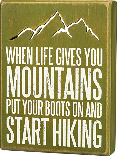 Primitives by Kathy Distressed Green Box Sign, 6 x 8-Inches, Start Hiking