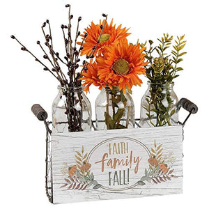 Blossom Bucket Faith Family Fall Basket with 3 Tall Bottles
