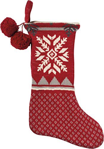Primitives by Kathy 18 Inches x 11 Inches Cotton Big Snowflake Christmas Stocking Home Decor