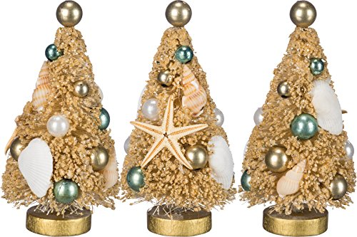 Primitives By Kathy 4 Inches Tall Bristle Glitter Plastic Boxed Sisal Set Of 3 Christmas Trees