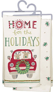 "Primitives by Kathy Dish Towel - Home Holidays 18"" x 26"" with Embroidery Embellishment"