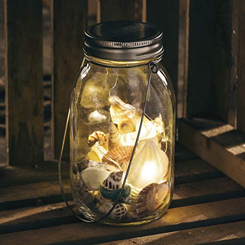 Primitives by Kathy Lighted Seashell Lantern Mason Jar Style
