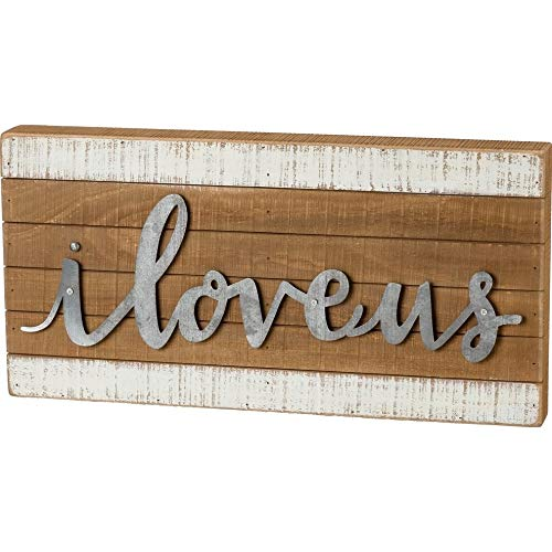 Overstock Slat Box Sign - I Love Us