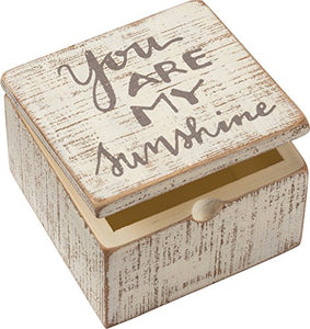 Primitives by Kathy Distressed White and Gray Hinged Box, 4 x 4 x 2.75-Inches, You are My Sunshine