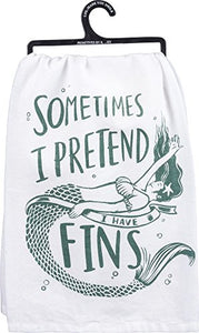 Primitives by Kathy LOL Made You Smile Dish Towel, 28 x 28-Inches, Pretend I Have Fins