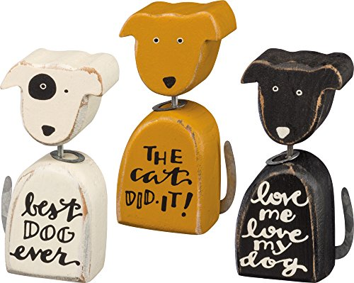 Primitives by Kathy Distressed Wood and Metal Chunky Shelf Sitters, Set of 3, Dogs
