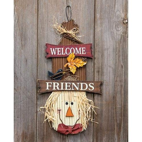 Welcome Friends Scarecrow Head 16