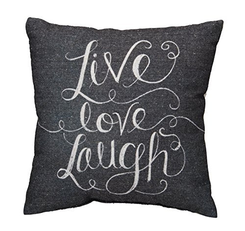 Primitives by Kathy Chalk Pillow, Live Love Laugh, 12 by 12-Inch