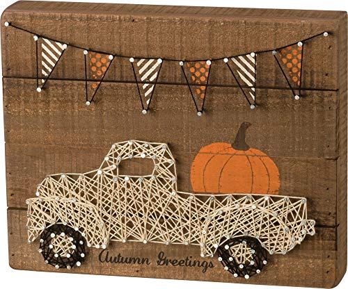 Primitives by Kathy Slat String Art Box Sign, Autumn Greetings