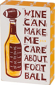 "Primitives by Kathy Box Sign Wine Football 5"" x 7"""