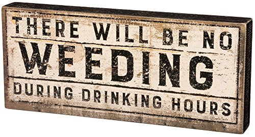 Primitives by Kathy Rustic-Inspired Box Sign, 14 x 6-Inches, Drinking Hours