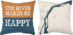"Primitives by Kathy Pillow The River Makes Me Happy 14"" x 14"" 2 Sided"