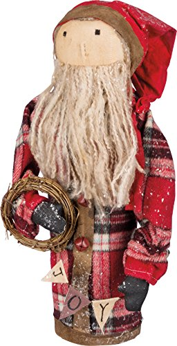 Primitives By Kathy 14 Inches Tall Cotton Metal Wire Santa With Wreath Decorative Ornament