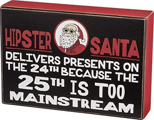 Primitives by Kathy Hipster Santa December 24 Box Sign