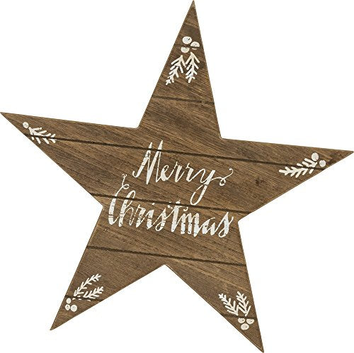 Primitives by Kathy Phil Chapman 11.50 inches x 11 inches Wood Star Hang-Up Merry Christmas