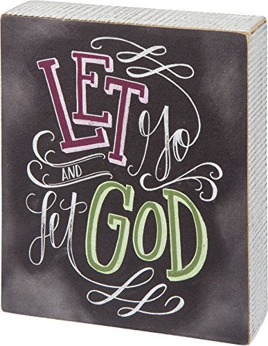 Primitives by Kathy Let Go and Let God Box Sign 5