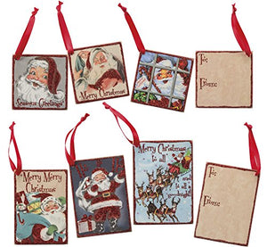 Primitives by Kathy Vintage Christmas Wood Gifts Tags, Set of 6, Retro Santa, 6 Piece