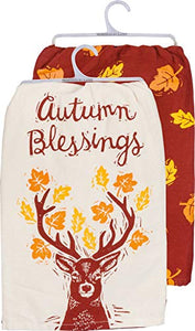 Primitives by Kathy 36469 Autumn Blessings Dish Towel Set of 2