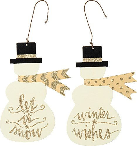 Primitives by Kathy Tin Snowmen Ornaments Set of Two Size: 4.50