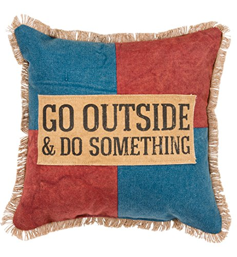 Primitives by Kathy Canvas Go Outside Throw Pillow 12-Inch Square