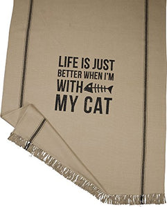 Primitives By Kathy Throw Blanket - Life is Just Better When I'm with My Cat