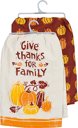 Primitives by Kathy Dish Towel ~ Give Thanks for Family Set