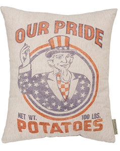 Primitives by Kathy Vintage Feed Sack Style Our Our Pride Potatoes Throw Pillow, 16-Inch Square