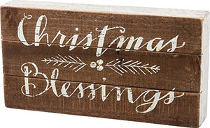 Primitives by Kathy Slat Wood Box Sign, 11.5 x 6-Inches, Christmas Blessings