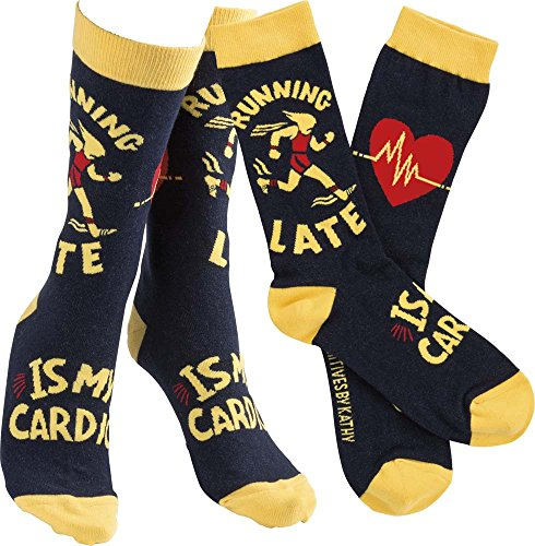 Humorous Quote Socks Unisex One Size Primitives by Kathy (Running Late is My Cardio)
