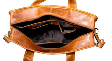Load image into Gallery viewer, Finelaer Men Brown Leather Laptop Front Pocket