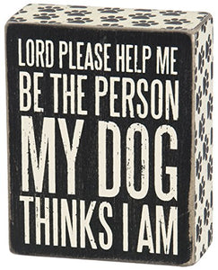 "Primitives by Kathy Paw Print Trimmed Box Sign, 4"" x 5"", Dog Thinks"
