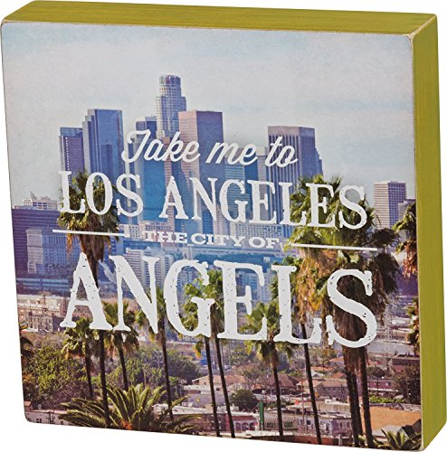 Primitives By Kathy Los Angeles City Wood Box Sign 8 x 8 x 1.5 inches
