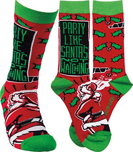 Primitives by Kathy Unisex Socks - Party Like Santa's Not Watching