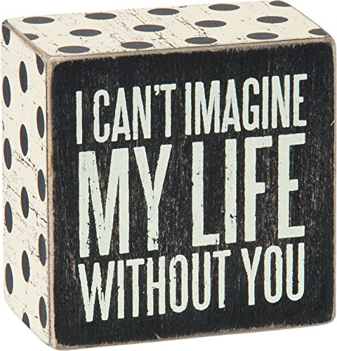 Primitives by Kathy Polka Dot Trimmed Box Sign, 3 x 3-Inches, Can't Imagine