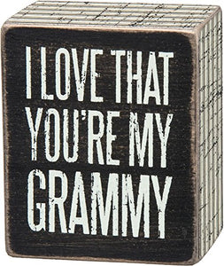 Primitives by Kathy Pinstripe Trimmed Box Sign, 2.5 x 3-Inches, Grammy