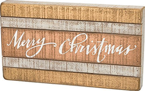 Primitives by Kathy Wood Box Sign, Merry Christmas-Slat
